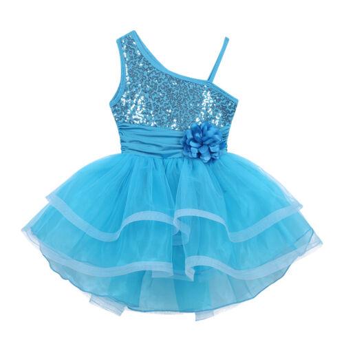 Kids Girls Ballet Leotard Dress Jazz Modern Dancewear Sparkly Tutu Skirt Costume
