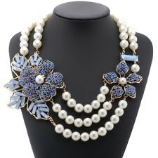 ZARA GORGEOUS 3 ROWS WHITE PEARLS FLOWERS STATEMENT NECKLACE - NEW