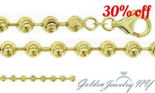 """Yellow Gold Tone 925 Silver Moon Cut Link Chain Necklace Italy 3MM  30/"""" AND 32/"""""""