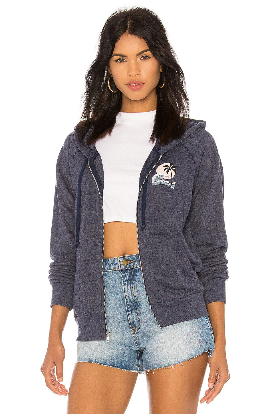 SPIRITUAL GANGSTER women's beach hamsa bonfire zip up hoodie navy new yoga
