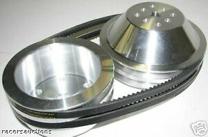 SBC-Chevy-Aluminum-Underdrive-Pulley-Kit-Long-Water-Pump-Double-Groove-Reduction