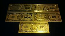 ~GOLD Banknote SET($100,000,$10000,$5000,$1000,$500)COLLECTIBLE BILLS FREE S&H