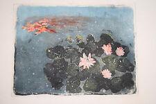 Imri Lang-Kummer Lithographie Bütten Seerosen signiert e.A. 51x38 cm/30x23 cm