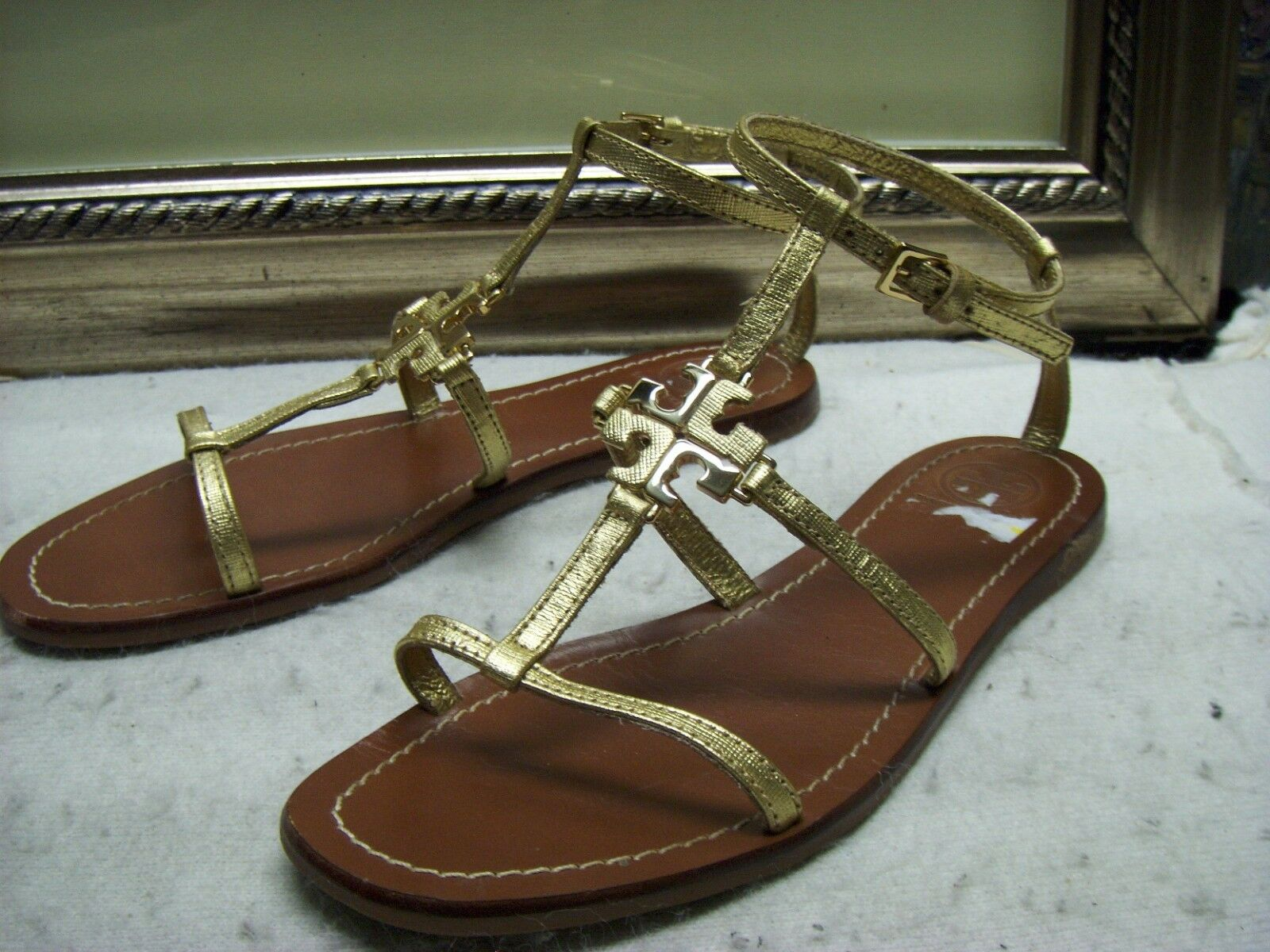Authentic Tory Burch Burch Burch T Logo Leather Sandal chaussures Taille 6.5 WOW ^^_^^ e21db3