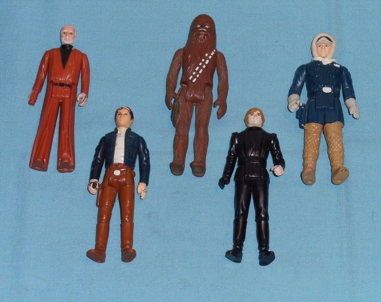Vintage STAR WARS FIGURE LOT Chewbacca Ben Kenobi Han Hoth Bespin Luke Jedi