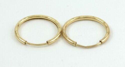 14K Yellow Gold Diamond Cut Endless Hoop Earrings 3 Sizes