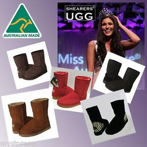 Premium-HAND-MADE-Australia-SHEARERS-UGG-Classic-Short-Sheepskin-Boots-Print