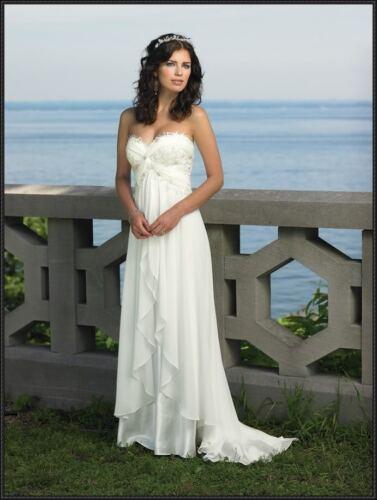 Chiffon bianco wedding / damigelle d'onore abito da sposa Abiti dimensioni 6,8,10,12,14,16,18