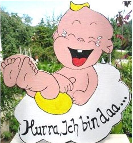 großes Baby Geburtstafel aus Holz WINDEL in GELB Geschenke zur Geburt