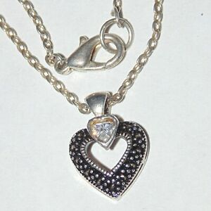 Signed-Judith-Jack-sterling-silver-white-clear-CZ-heart-pendant-necklace-16-034