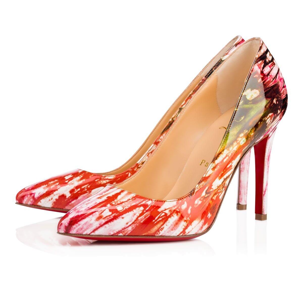 NIB Christian Louboutin Pigalle 100 Pink Bazin Pompadour Patent Heel Pump 38