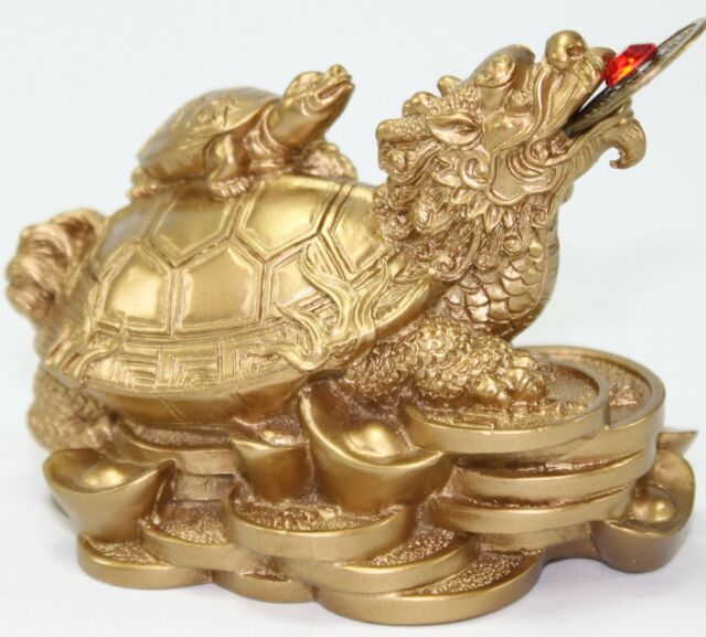 Feng Shui Dragon Turtle Gold Statue Fortune Symbol Mythical Animal