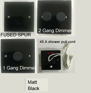 1 2 Gang LED Dimmer Switches Dimmable 45A shower spur Light Switch matt Black