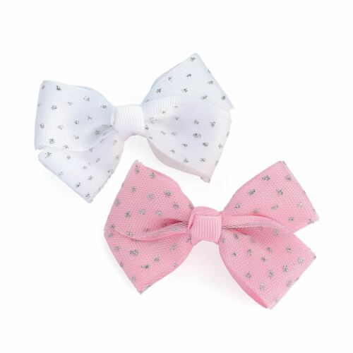 New Ladies 2 Piece Pink and White Sequin Bow Hair Clip Set Hair Accessories