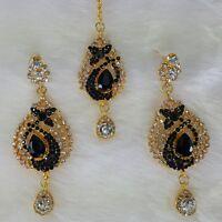 Gold Tone Zerconic Kundan Bridal Style Designer Earrings With Tikka Jewelry