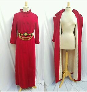 Handmade Women LG Coat Double-breasted Raspberry Red Velvet Column Vtg 50s-60s