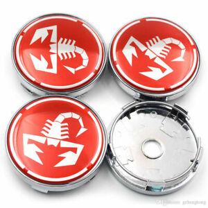 4x-60mm-Fiat-Abarth-rojo-blanco-embellecedores-llantas-tapa-tapa-del-cubo-alufelnendeckel