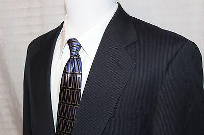 EUC VITO RUFOLO WOOL BLAZER SPORTS COAT JACKET Black & Gray Striped Size 46R