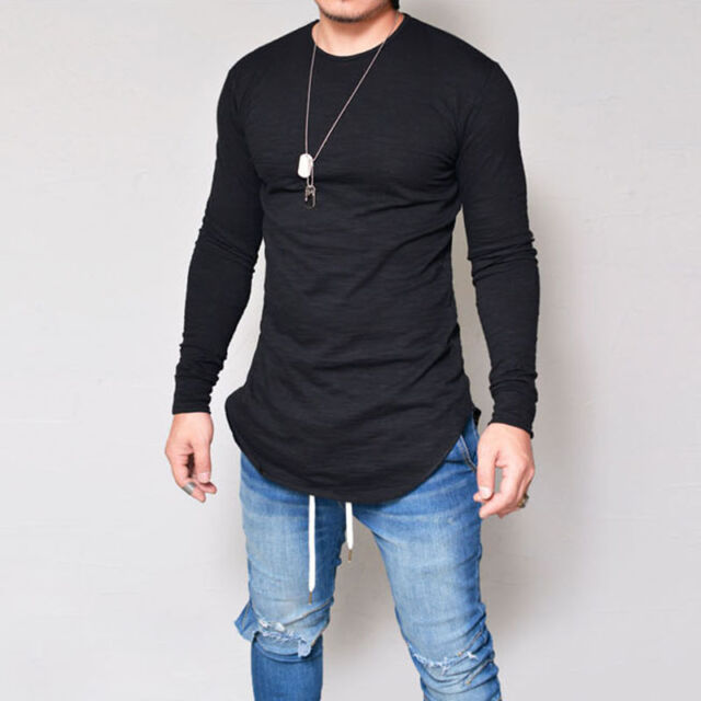 on wholesale purchase cheap low price Fashion Men Slim Fit O Neck Long Sleeve Muscle Tee T-shirt Casual Tops  Blouse Thin Short White 2xl