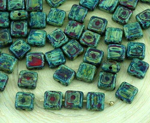 40pcs Picasso Corail Rouge Opaque Tuile Un Trou Plat Carré Tchèque Perles De Verre 6 mm