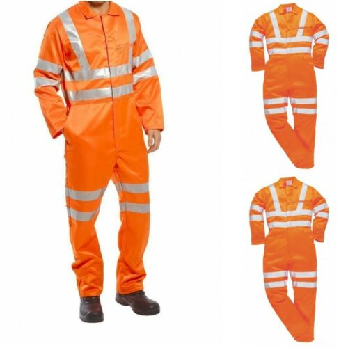 Portwest Hi Vis Reflective Pollycotton Coverall Overall Boiler Suit Railway RT42