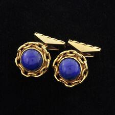 Vintage 18k  Beautiful Cufflinks Set Bright-blue lapis lazuli Round Cabochon