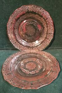 Set-of-2-Federal-NORMANDIE-Pink-Depression-Glass-6-034-Bread-Plate-s-M62