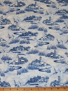 'Lighthouse-Sailboats-Scenic-Nautical-Timeless-Treasures-Sea-Sky-Fabric-By-Yard' from the web at 'https://i.ebayimg.com/images/g/KS8AAOSwLiJZ3OC2/s-l300.jpg'