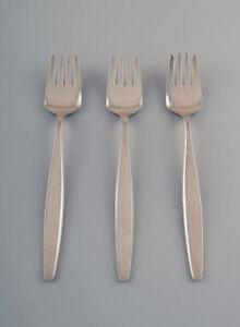 Georg-Jensen-Sterling-Silver-Cypress-3-pcs-lunch-forks