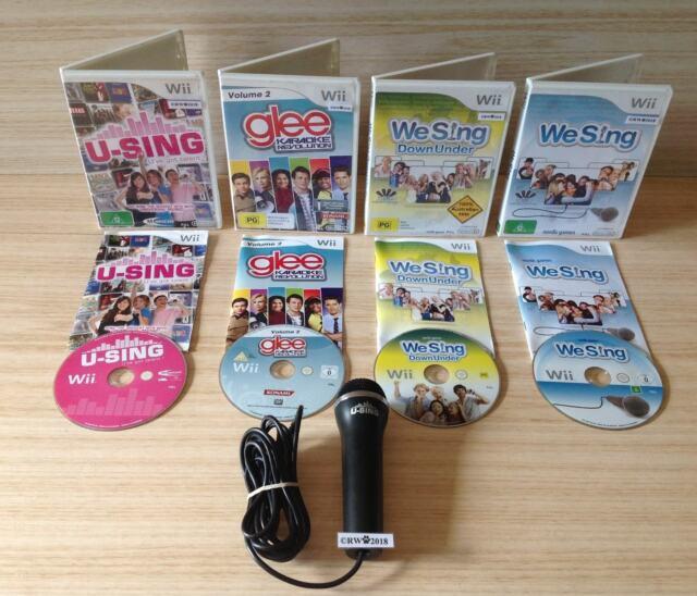 Wii U-SING + GLEE KARAOKE REVOLUTION 2 + WE-SING DOWNUNDER + WE SING +MICROPHONE