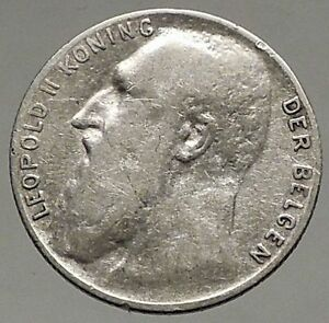 1901-BELGIUM-Original-Antique-Silver-50-Centimes-Coin-King-LEOPOLD-II-i56944