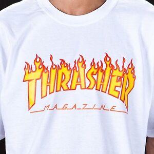 8742ffd02528 Thrasher Magazine Flame Logo T Shirt Tee White Skate Skateboard Mag ...