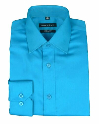 Mens Shirt Bellissimo Modern Fit Easy Iron Cotton Blend Sateen Long Sleeve