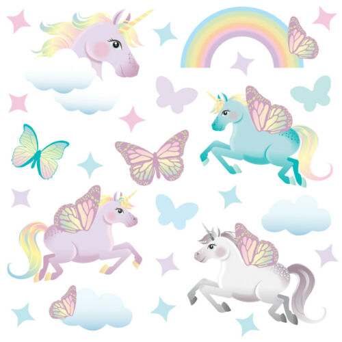 Unicorn wall stickers large kids girls rainbow pink bedroom decals unic9
