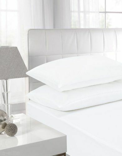 WHITE POLY COTTON EGYPTIAN FITTED SHEET BED LINEN SET ALL SIZES PILLOW CASES
