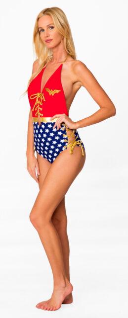 Wonder Woman DC Comics Lace Up Backless Womens Bathing Suit Monokini One Piece