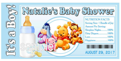 20 WINNIE THE POOH BABY SHOWER FAVORS WATER BOTTLE LABELS PARTY FAVORS