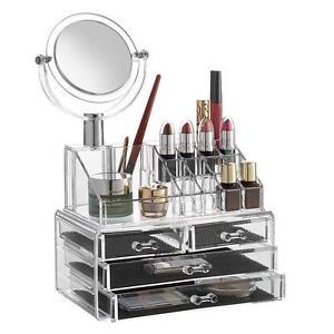acrylic makeup organizer jewelry storage cosmetics box with mirror 4 drawers ebay. Black Bedroom Furniture Sets. Home Design Ideas