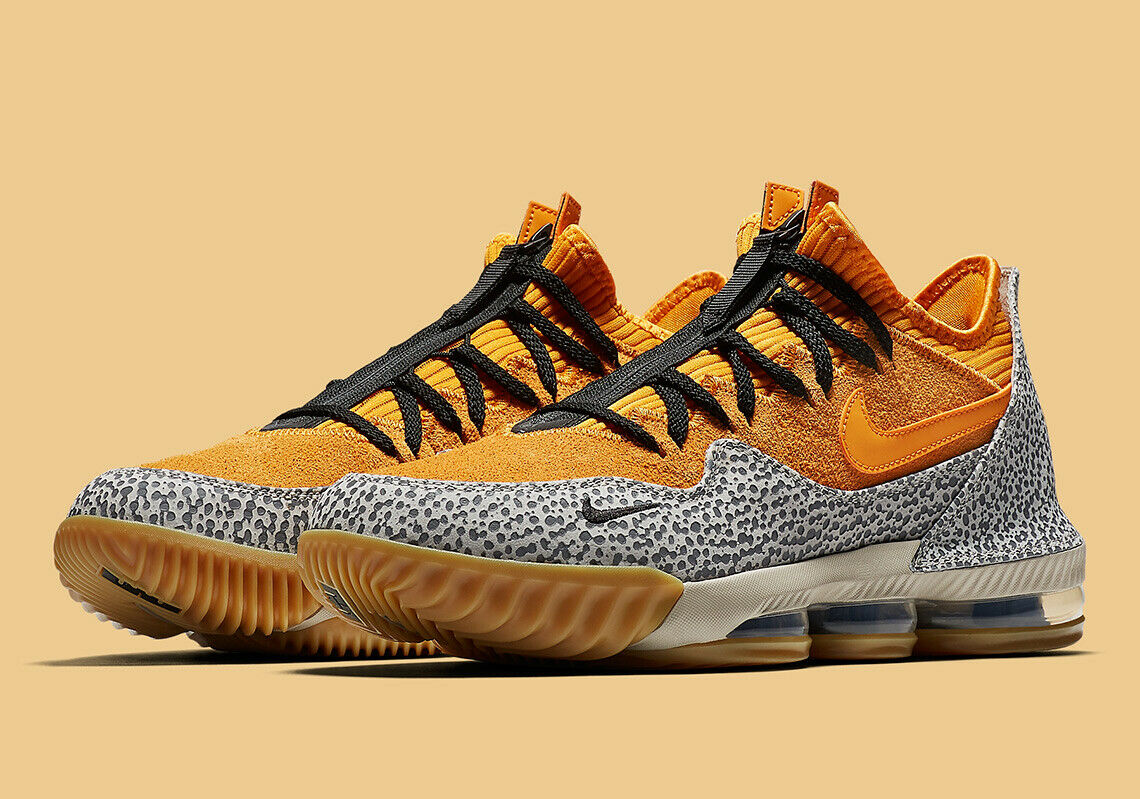 Nike LeBron 16 XVI Low Atmos Safari size 7.5 CI1518-001. Black orange Grey print