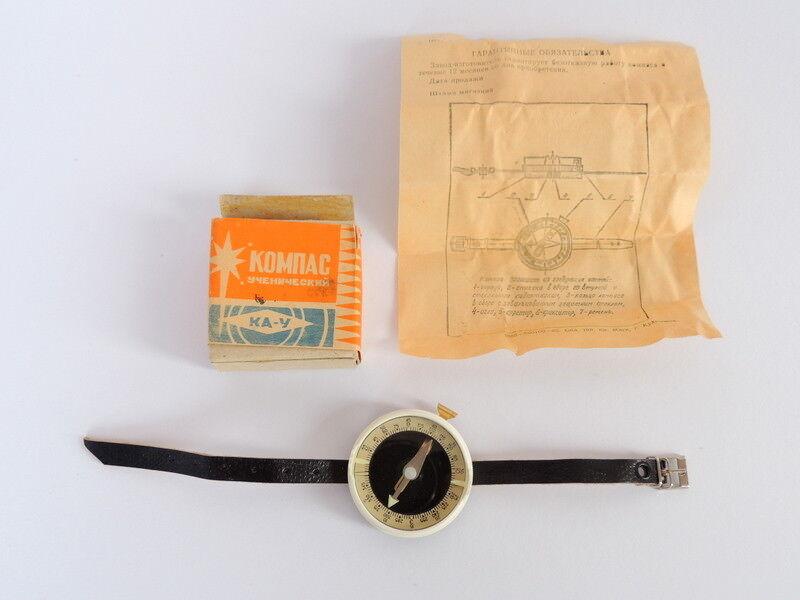 80's Genuine Soviet USSR Vintage Hand Wrist Compass Army Military Tourist in Box
