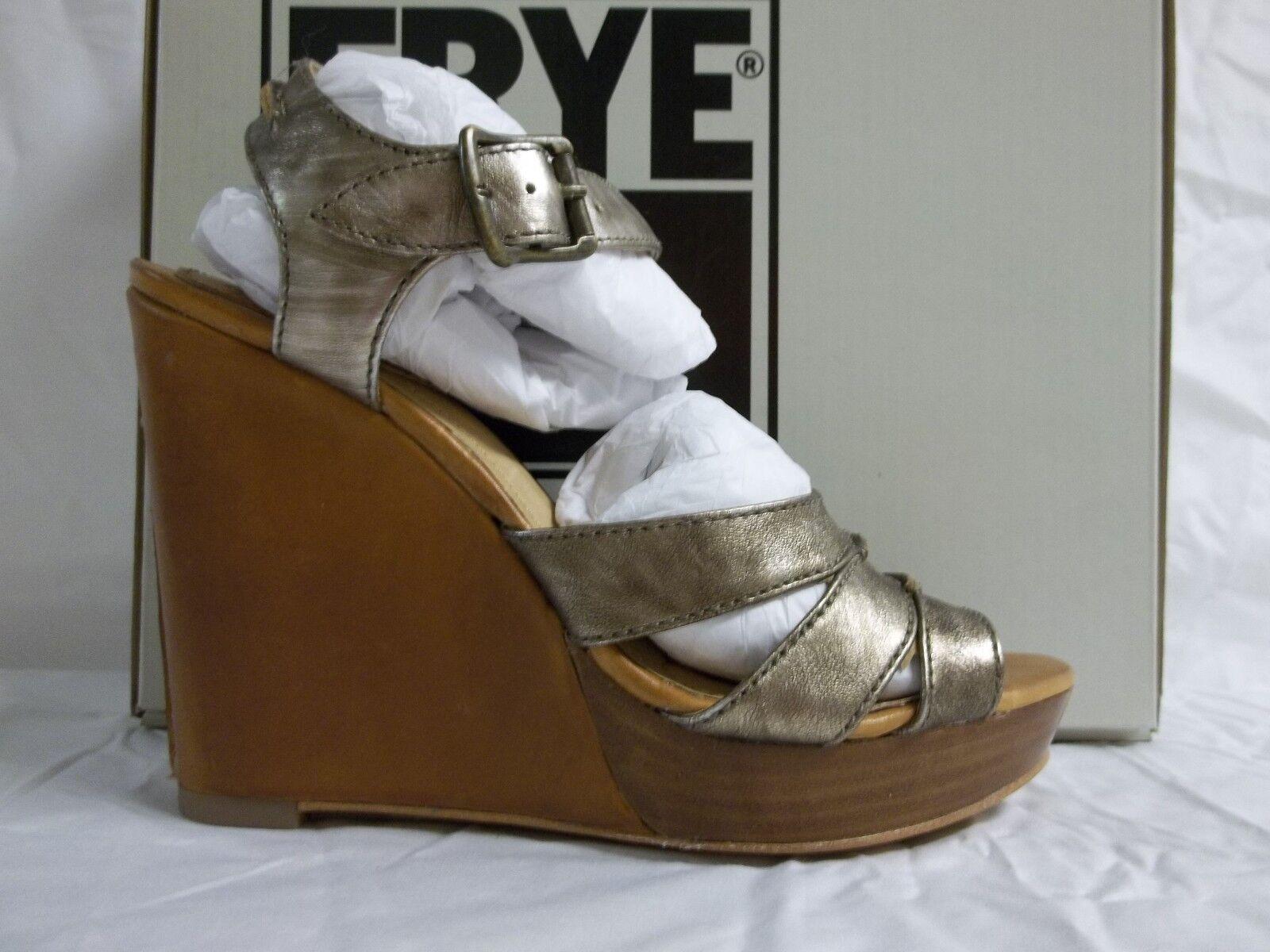 Frye Größe Heels 7 M Alexa Bronze Leder Open Toe Heels Größe New Damenschuhe Schuhes 84a85c