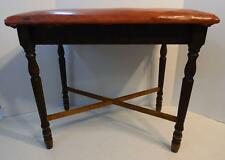 VINTAGE WOOD PIANO BENCH STOOL WITH VINYL CUSHION COVER DECORATIVE LEGS