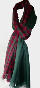 Red-Green-Long-Wide-Scarf-Check-amp-Plain-Large-Wide-Wrap-Fair-Trade-New-Unisex