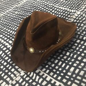 Minnetonka The Silverton Hat Western Style Genuine Leather Distressed Sz Med