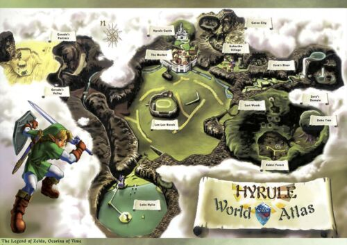 1 FREE//1 GRATUIT*VIDEO GAME LEGEND MAP HYRULE CART POSTER A4 PLASTIFIE-LAMINATED