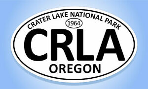 """Crater Lake National Park oval car window bumper sticker decal 5/"""" x 3/"""""""