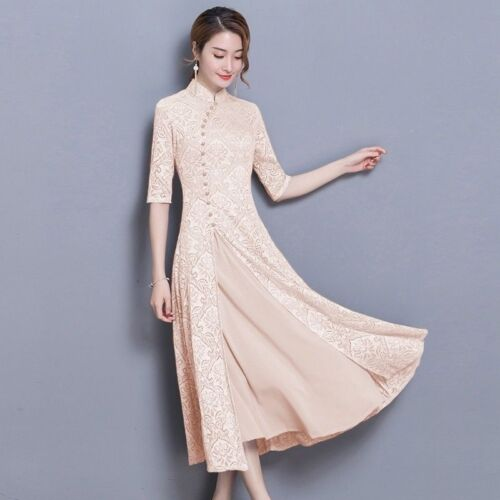 Red Mandarin Chinese Lace Floral Collar Ethnic Half Sleeve Lady Long Dress Qipao
