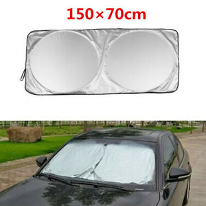 Car-Windshield-Visor-Cover-Front-Windows-Shade-Sun-Protection-150X70cm-Silver