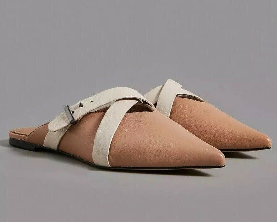 Brand New Autograph Tan Leather Cross Strap Mule shoes In Size UK 5.5