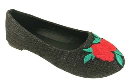 GIRLS SLIP ON DOLLY BALLERINA PUMPS ROSE FLOWER DETAIL BLACK SIZE 11-4